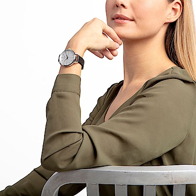 CALVIN KLEIN even 超然系列女錶-白x皮錶帶/36mm
