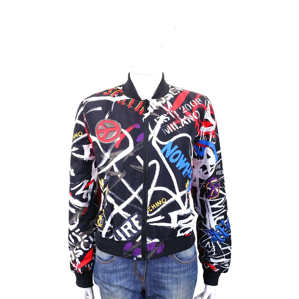 LOVE MOSCHINO 塗鴉印花黑色飛行員夾克