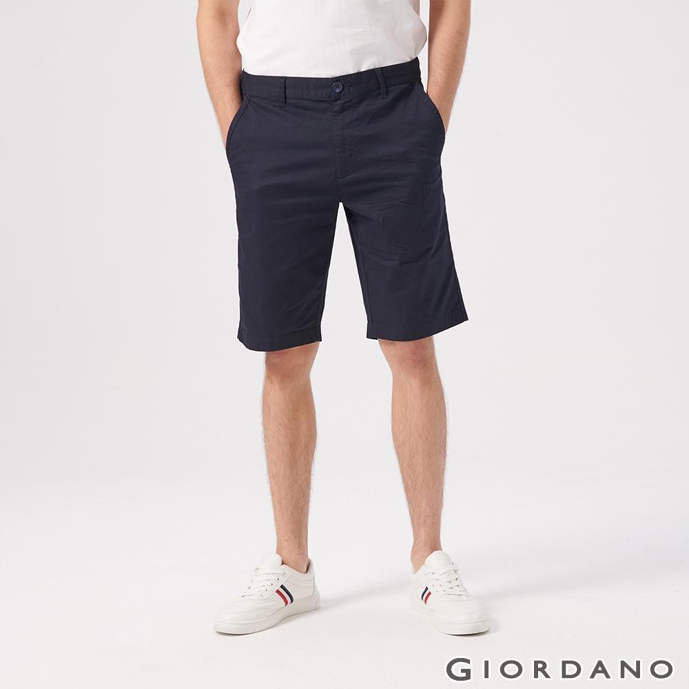 GIORDANO 男裝素色修身百慕達短褲-66 標誌海軍藍