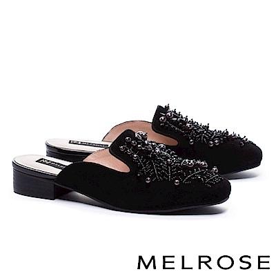 拖鞋 MELROSE 華麗格調羊麂皮穆勒低跟拖鞋-黑