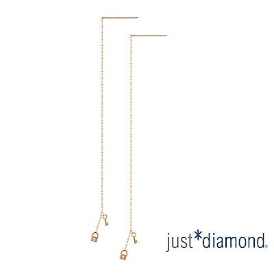 鎮金店 Just Diamond 鑽石玫瑰金 耳環-Knock Knock