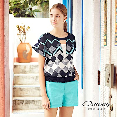 OUWEY歐薇 幾何圖形假兩件式短版連袖上衣(藍)
