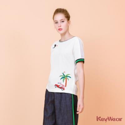 KeyWear奇威名品    童趣繡花圖案羅紋接邊短袖上衣-白色