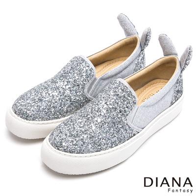 DIANA 甜漾迷人--繁星閃耀亮面可愛兔耳平底鞋-銀