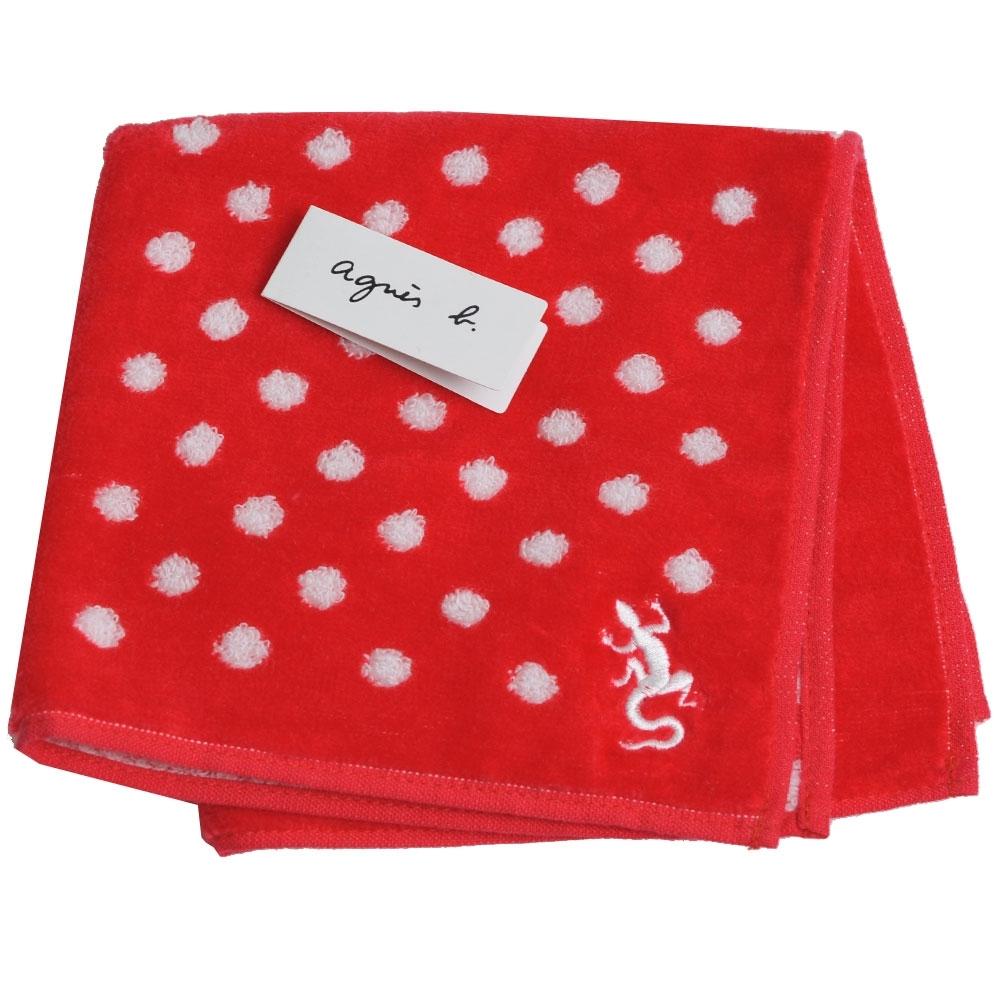 agnes b刺繡LOGO圖騰品牌風格小方巾(紅系)