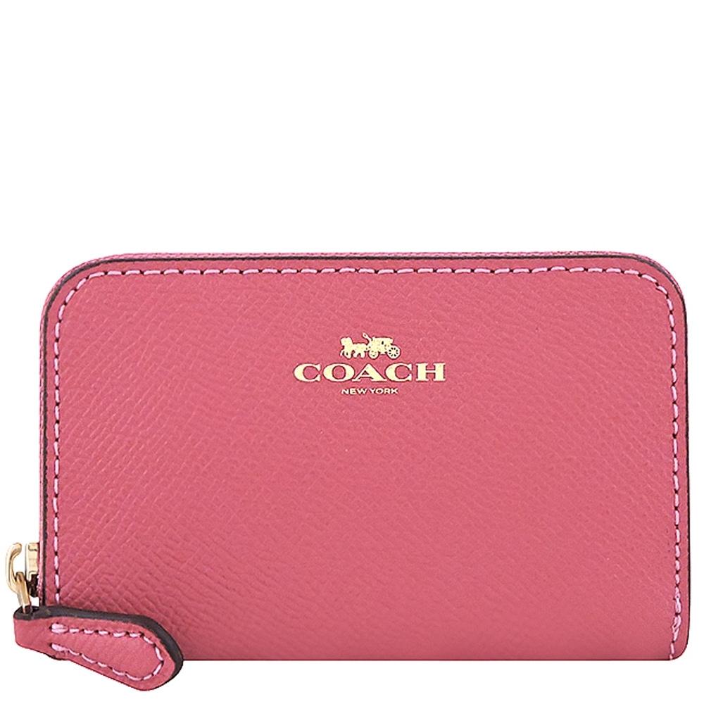COACH 莓紅色防刮皮革拉鍊名片夾/零錢包