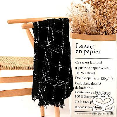 SOFER迷幻格紋羊毛披肩-黑