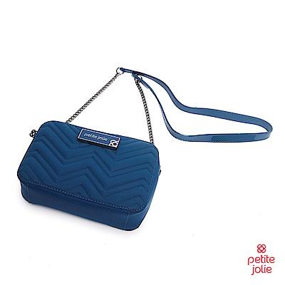 Petite Jolie--V字壓紋肩背鏈帶相機包-蔚藍