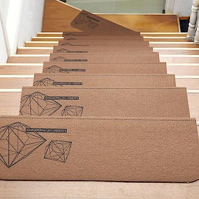 半島良品 可重覆黏貼樓梯止滑墊10入- 幾何圖 咖啡