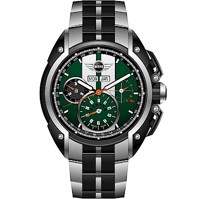 MINI Swiss Watches 極速運動計時腕錶(MINI-03S)-綠/鋼帶款