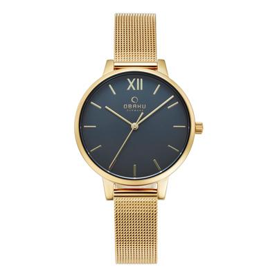 OBAKU 現代兼具經典羅馬數字女性腕錶-金-V209LXGJMG