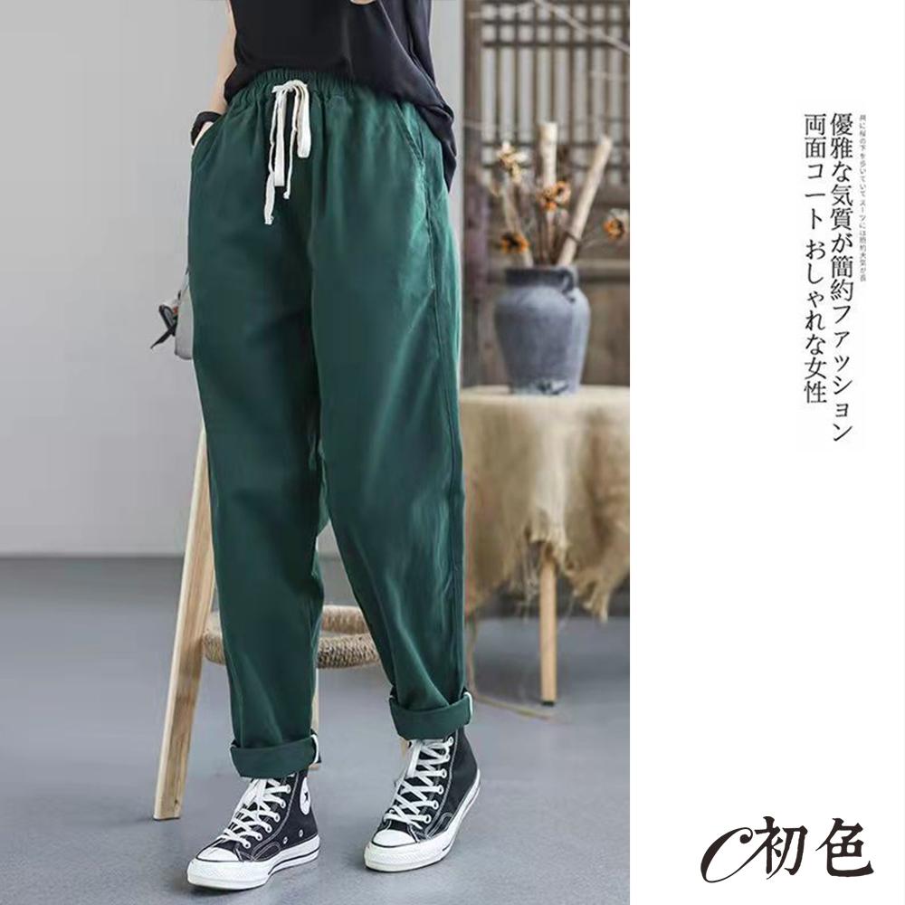 初色  繫帶棉質休閒褲-共5色-(M-2XL可選)