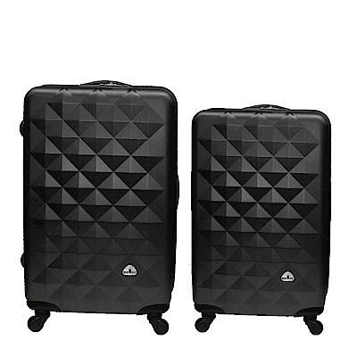 Bear Box 立體菱格晶鑽系列經典二件組24吋20吋 輕硬殼旅行箱行李箱-黑色