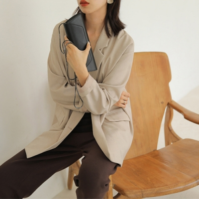 THG 韓國chic休閒寬鬆翻領落肩雙排扣西裝外套- 杏/黃