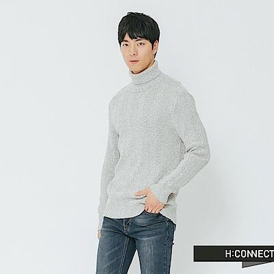 H:CONNECT 韓國品牌 男裝-混織高領毛衣-灰