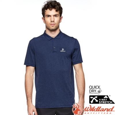 Wildland 荒野 0A81610-72深藍色 男環保涼感翻領上衣 大尺碼3L賣場/抗UV/涼爽散熱/POLO衫/吸濕快乾