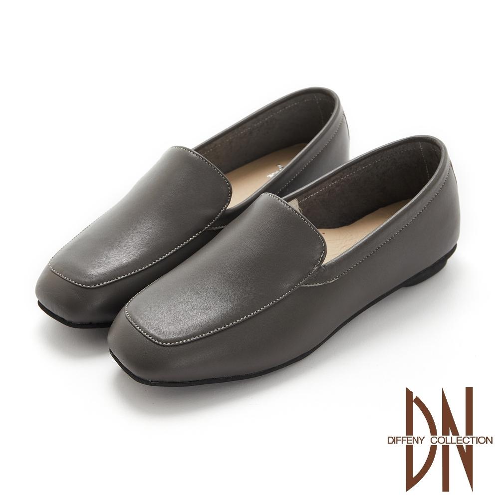 DN休閒鞋_MIT真皮素面縫線造型平底鞋-灰