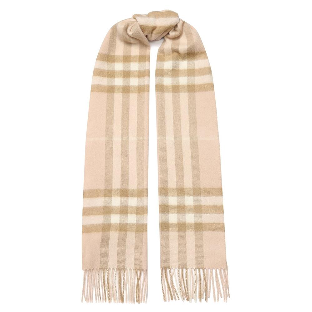BURBERRY 經典格紋喀什米爾羊毛流蘇圍巾 淺粉膚色
