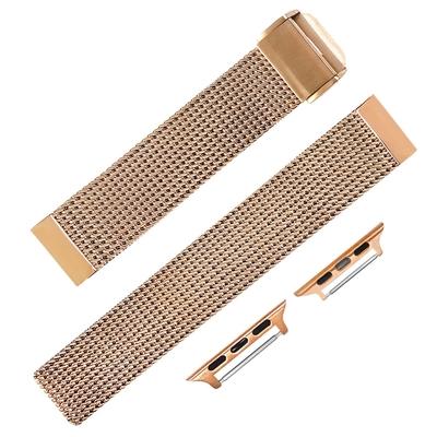 Apple Watch / 蘋果手錶替用錶帶 穿壓扣 米蘭編織不鏽鋼錶帶 玫瑰金