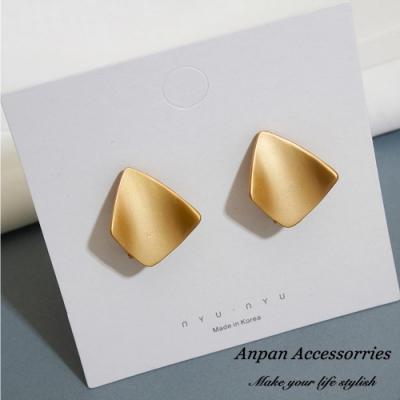 【ANPAN愛扮】韓東大門chic風磨砂金屬925銀針耳釘式耳環-金銀兩色