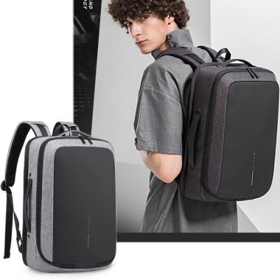 leaper全開式15.6吋防潑水外置USB充電耳機孔電腦後背包 共2色
