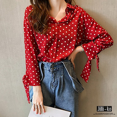 Jilli-ko 波點打結長袖襯衫- 紅/藍