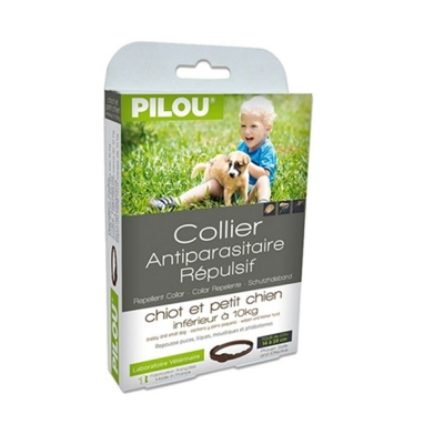 法國皮樂Pilou第二代加強升級-非藥用除蚤蝨項圈-幼/小型犬用(35cm-5kg上下) 兩盒組