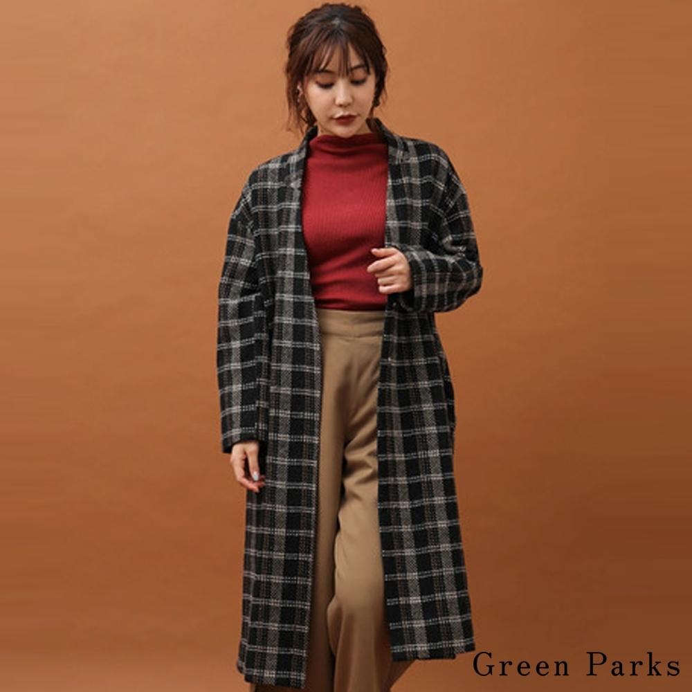 Green Parks 經典方格紋V領長版大衣