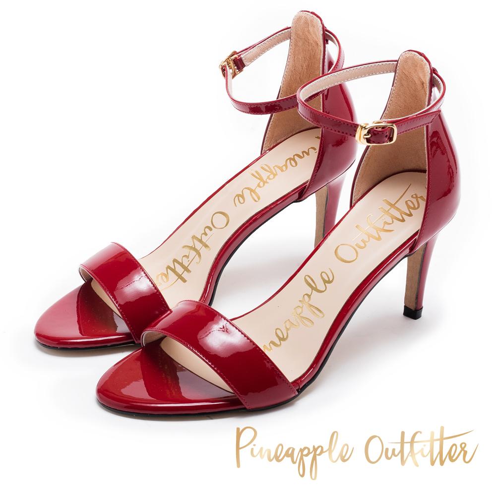 Pineapple Outfitter 浪漫約會 繞踝露趾高跟涼鞋-紅色
