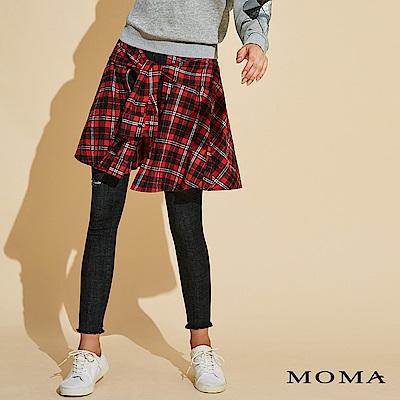MOMA 格紋綁帶假兩件長褲