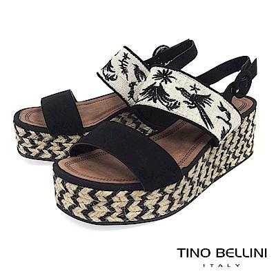 Tino Bellini 布紋刺繡雙條帶麻編厚底涼鞋 _ 黑