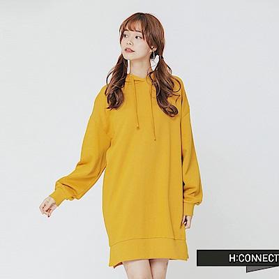 H:CONNECT 韓國品牌 女裝-後背圖像長板帽T-黃