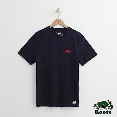 Roots 男裝-左胸海狸短袖T恤-藍色