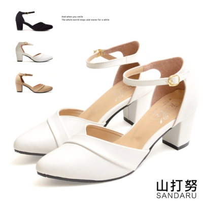 山打努SANDARU-中跟鞋 法式優雅壓摺尖頭鞋