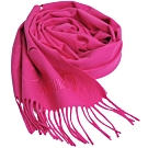 MOSCHINO 義大利製美麗諾羊毛繽紛愛心刺繡圖騰字母LOGO刺繡披肩/圍巾(桃紅色)