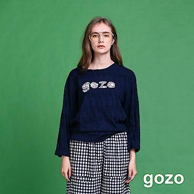 gozo 品牌logo造型印花九分寬袖上衣(二色)