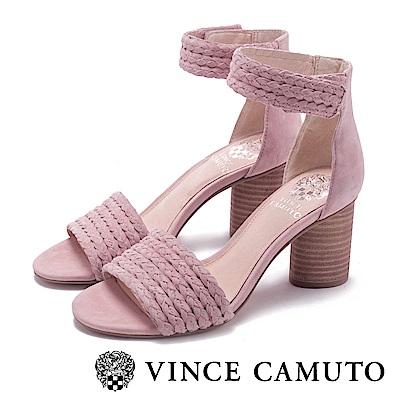 VINCE CAMUTO 優雅編織麂皮圓粗高跟涼鞋-粉色