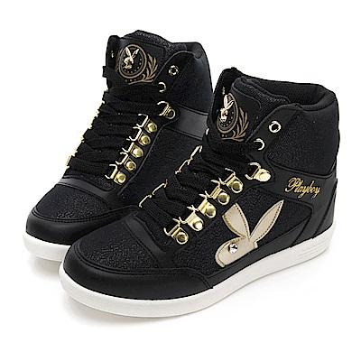 PLAYBOY 璀璨亮蔥內增高休閒鞋-黑-Y5223CC