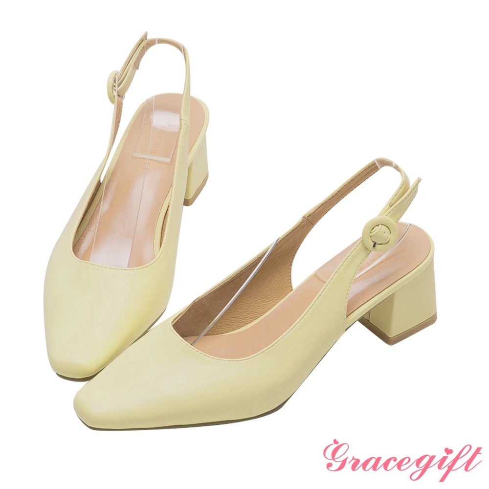 Grace gift-素面繫帶後空中跟鞋 黃