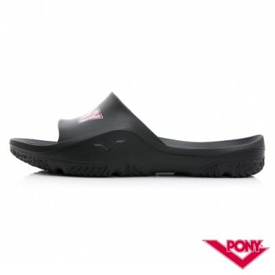 【PONY】輕量抗菌防臭防滑運動拖鞋 涼鞋 男鞋 女鞋  黑/粉