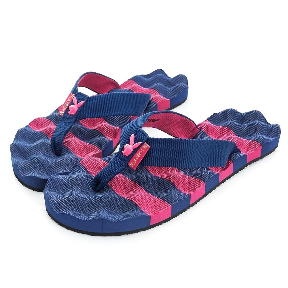 PLAYBOY條紋布面夾腳涼拖鞋-藍桃-YT607F8