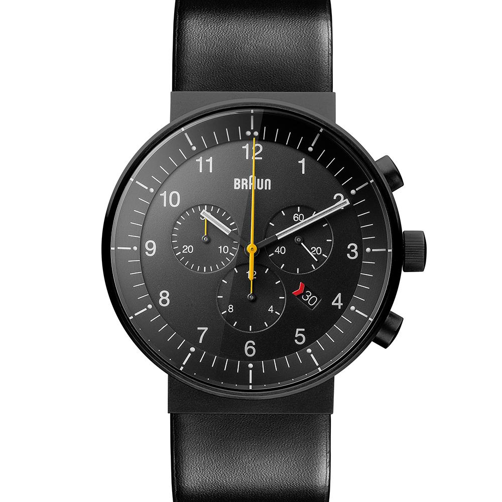 BRAUN德國百靈 經典三眼 日期窗設計皮革不鏽鋼錶 -黑色/43mm