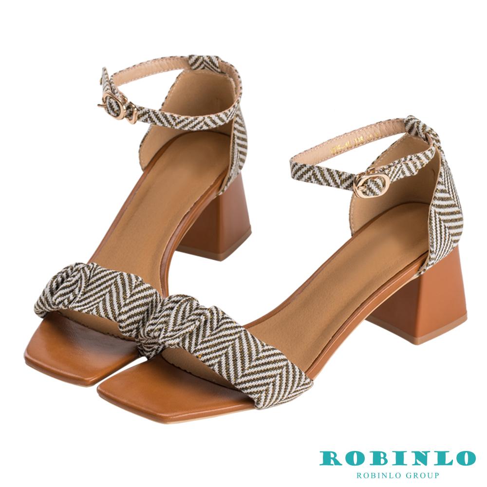 Robinlo 清新圖騰一字帶繞踝低跟鞋 黃