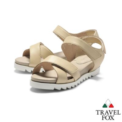 TRAVEL FOX(女)  綠野仙踨  交叉鞋帶柔軟羊皮可調式休閒涼鞋 - 裸膚米