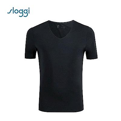 sloggi men ZERO Feel 零感系列短袖內著上衣 純粹黑