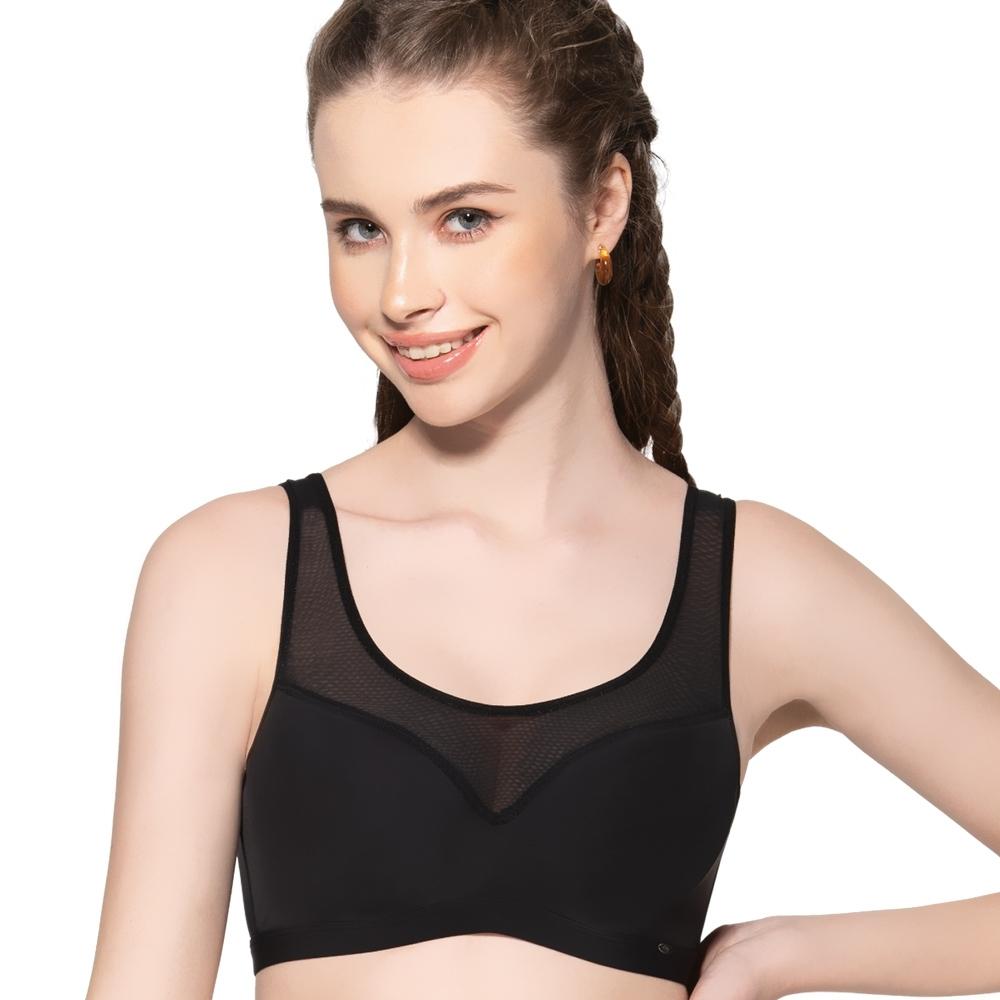 思薇爾 Simple sexy系列M-XL素面無痕背扣短背心(黑色)