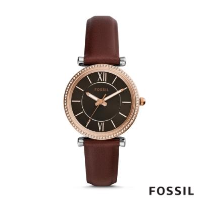 FOSSIL CARLIE 古典優雅風格輕奢華皮革女錶-咖啡色 35MM ES4861
