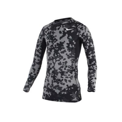 NIKE PRO COMBAT 男長袖針織衫-長袖緊身衣 慢跑 路跑 籃球 迷彩黑灰