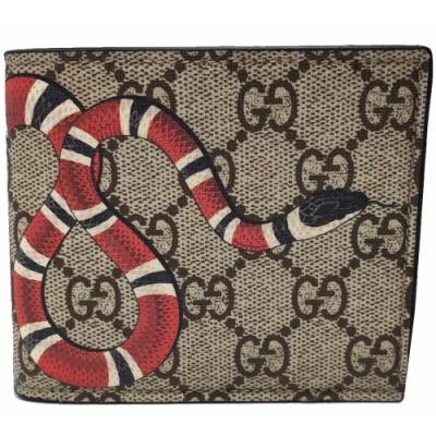 GUCCI   經典雙GG Supreme蛇型圖騰印花摺疊短夾(咖啡色)