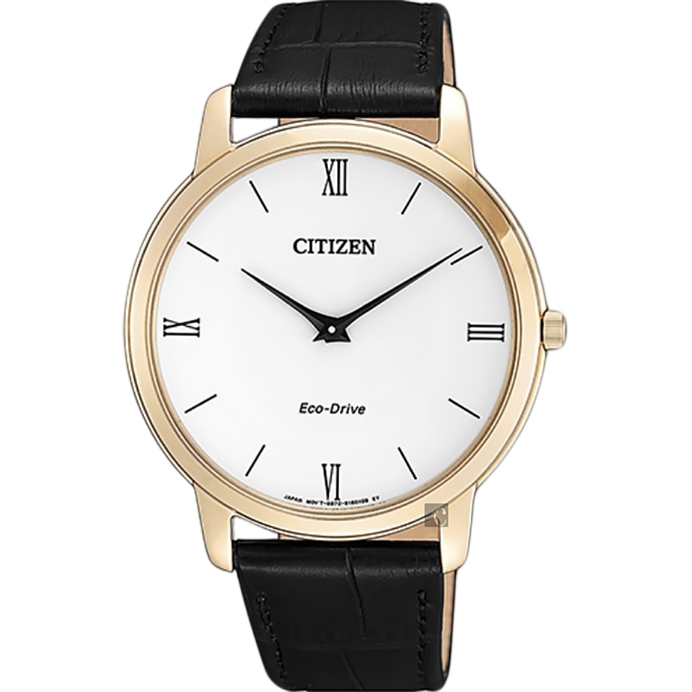 CITIZEN 星辰 Eco-Drive 光動能中性薄型手錶-玫瑰金框x黑/39mm